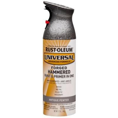 Rust oleum universal 12 oz all surface forged hammered antique pewter spray paint and primer in Metallic spray paint colors