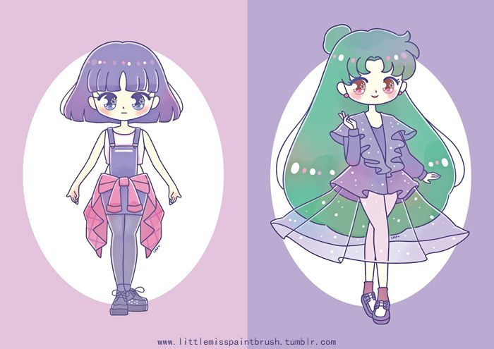 Last April, I drew the Sailor Soldiers wearing Kawaii / Harajuku-themed outfits! 。(⌒∇⌒。) Actually, their coordinates were based from me and my friends' own outfits~ :3 Sailor Moon and Sailor Pluto...