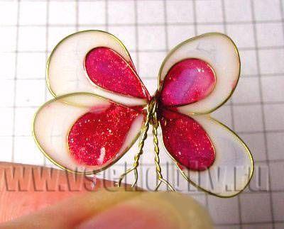 поделка бабочка из проволоки и лака для ногтей все детали покрашены