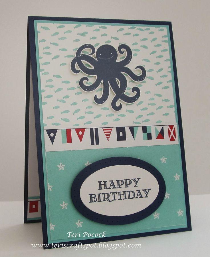 Stampin' Up! - Sea Street - Octopus Card ....  Teri Pocock - http://teriscraftspot.blogspot.co.uk/2015/04/sea-street-octopus-card.html