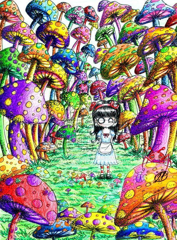 Trippy Pictures Mushrooms Trippy mushroom drawings