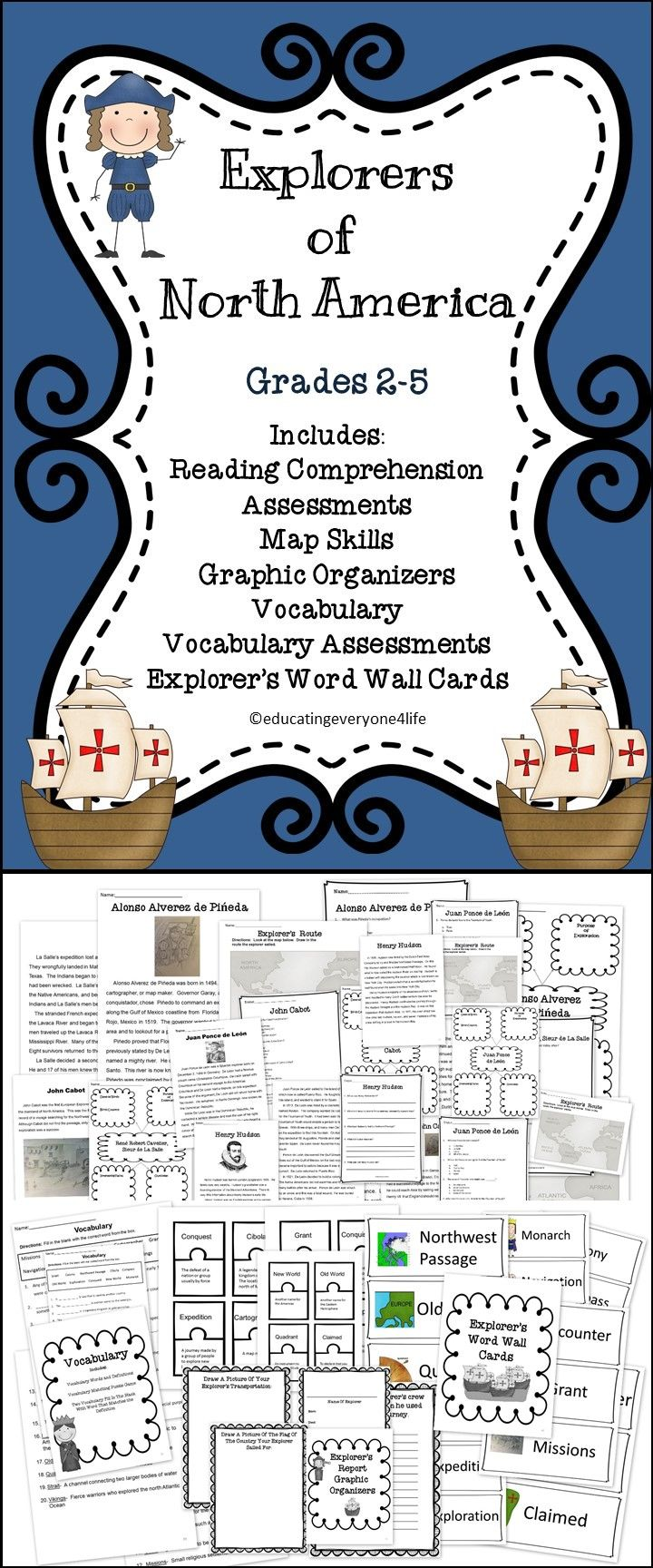 Free Worksheet Early Explorers Worksheets 17 best ideas about explorers unit on pinterest early of north america includes reading comprehension map skills assessments vocabulary
