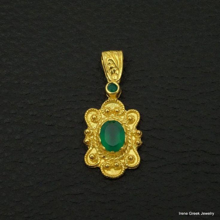 RARE NATURAL GREEN ONYX BYZANTINE 925 STERLING SILVER 22K GOLD PLATED PENDANT #IreneGreekJewelry #Pendant