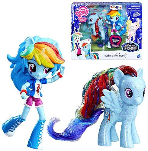My Little Pony Equestria Girls Minis Super Cute Sparkly Rainbow Dash Doll 4.5 and Rainbow Dash Pony 3 Exclusive Set