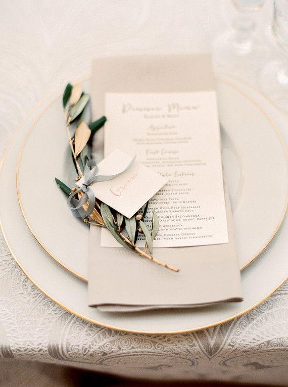 Gold leaf place cards  http://www.100layercake.com/blog/2015/08/03/elegant-italian-inspired-california-wedding-matt-elaine/