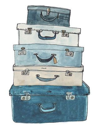 Suitcases illustration by Fiona Purves.