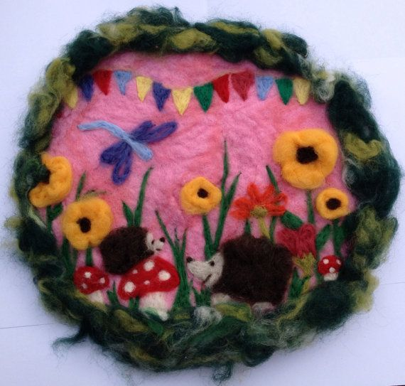 Happy Days -Hedgehogs Whimsical felted wall hanging - toadstools sunflower dragonfly bunting