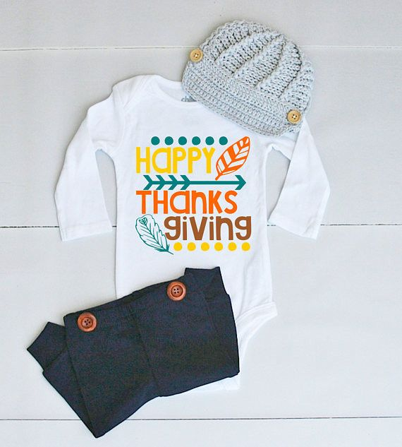 Happy Thanksgiving Outfit for Baby Boy - Thanksgiving Onesie® for Baby Boy - Thanksgiving Bodysuit for Boy - Baby's 1st Thanksgiving Outfit
