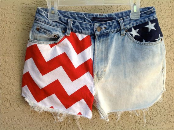 Stars and Stripes Chevron Patriotic Dip Dyed USA Shorts by suznews, $36.00