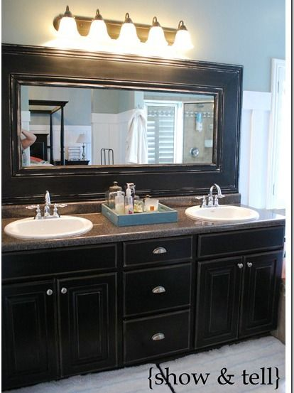 Long dresser into 2 sink vanity for master bath for the for Long bathroom vanity