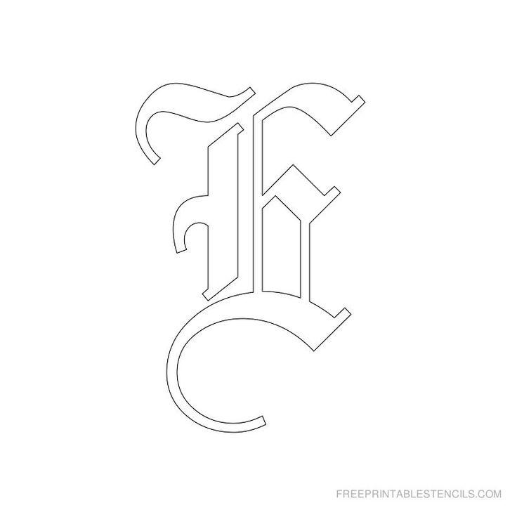 Printable Old English Alphabet Stencil E