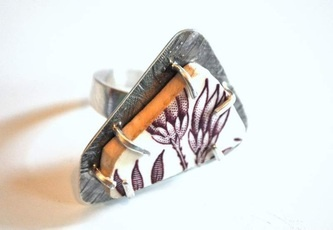 antique ceramic and sterling silver ring