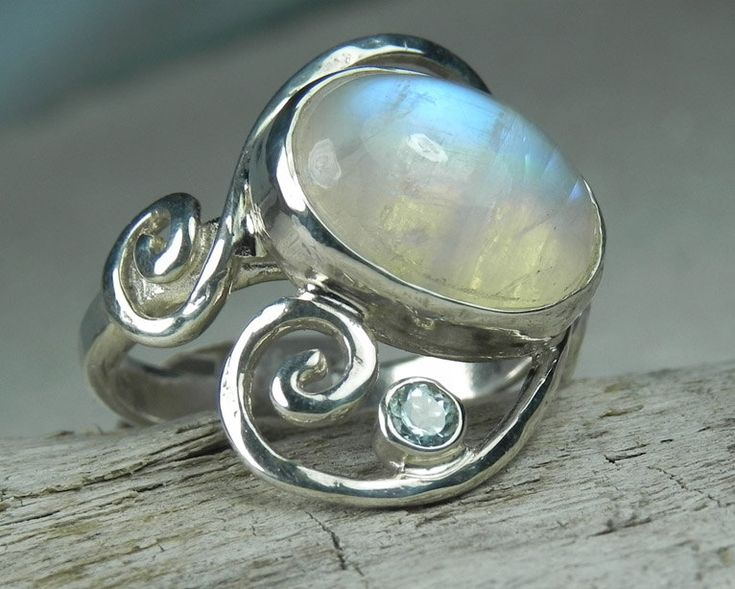 Moonstone Ring - Rainbow Moonstone Ring - Swirl Ring - Unique Moonstone Jewelry - Rainbow, Sky Blue, Aqua Blue, Ocean Inspired. $114.00, via Etsy.