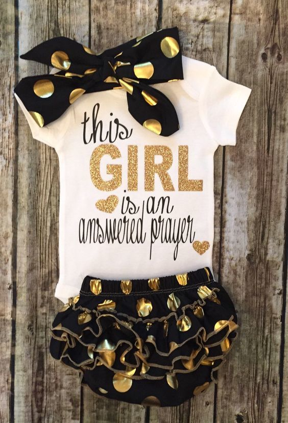 This Girl Is An Answered Prayer Baby Girl Onesie Religious Baby Onesies - BellaPiccoli