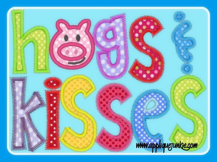 Hogs and Kisses Valentine Applique Design