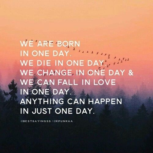 Day To Day Life Quotes: Anything Can Happen In Just One Day. Quote. Life Quote