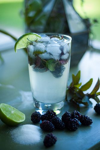 Blackberry Mojitos (◦2 oz white rum  ◦Juice of half a lime  ◦1 TBS sugar  ◦Ice  ◦Club soda  ◦3-4 sprigs fresh mint  ◦1 handful blackberries)