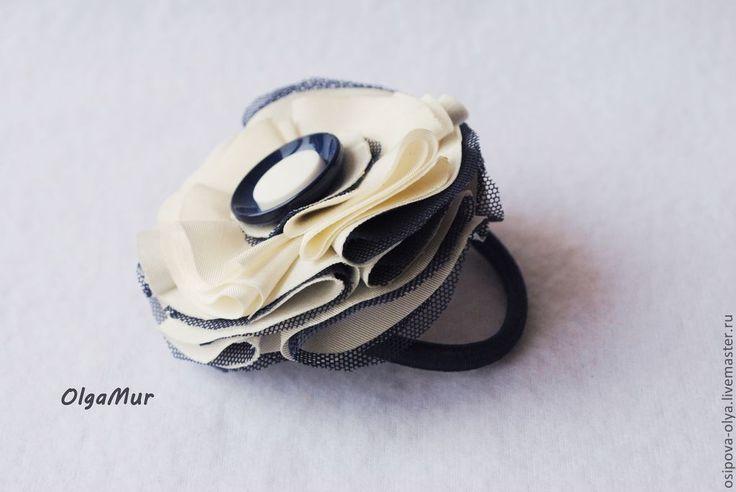 """Купить детская резинка на волосы """"Морская пена"""" - белый, резинка для волос, резинка с цветком"""