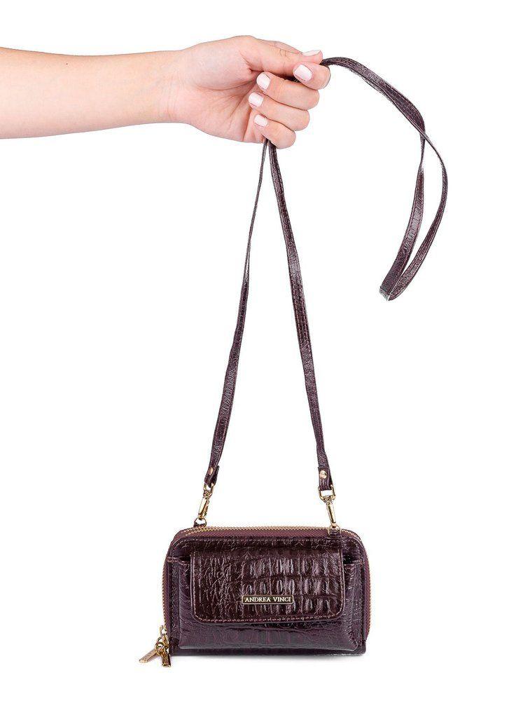 b0a18d046a252 Carteira Mini Bag Mary com alça em couro legítimo café em 2019 ...