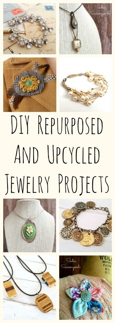 Love to repurpose vintage and random items into DIY jewelry? Well, I've got you covered with this collection of AMAZING upcycled necklace, bracelet, and brooch craft project ideas! From silverware, to buttons, to architectural salvage, to tennis rackets- this is the BEST collection of repurposed / upcycled jewelry projects around. #SadieSeasongoods / www.sadieseasongoods.com