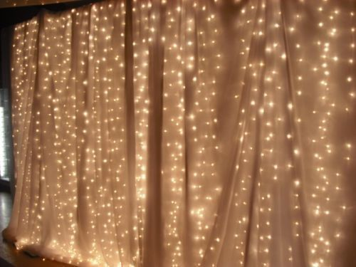 chic wedding backdrop lights and sheer cloth | Wedding decorations for hire, Event decorations for hire : Chair ...