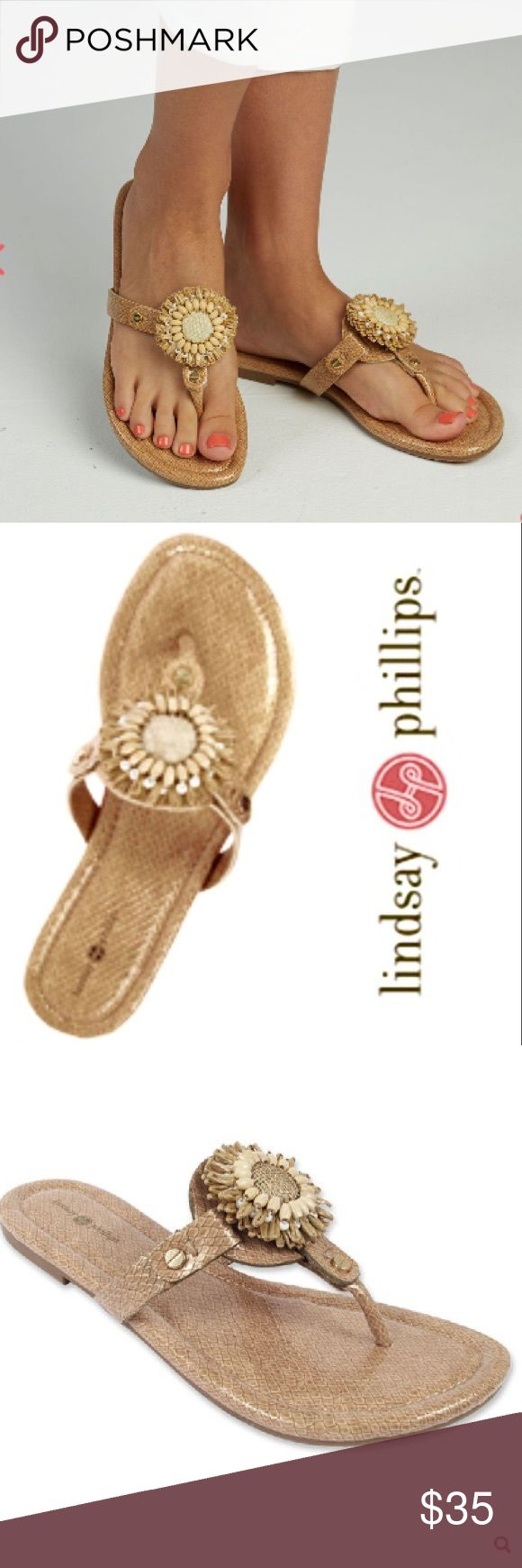 NWOT Lindsay Phillips Rosie Neutral Sandal Comfortable Lindsay Phillips sandal in a beautiful neutral faux snakeskin with raffia flower interchangeable clip.  One additional colorful clip included! Great for all your Summer outfits! Lindsay Phillips Shoes Sandals