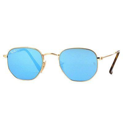 Óculos de Sol Ray Ban Hexagonal Dourado com Lente Azul Espelhada - RB3548N0019O