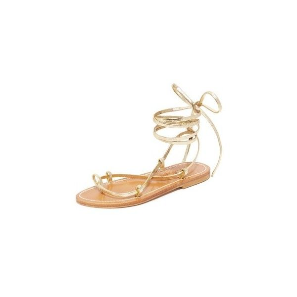 K. Jacques Bikini Wrap Gladiator Sandals ($275) ❤ liked on Polyvore featuring shoes, sandals, lame platine, leather sole sandals, k jacques sandals, leather sole shoes, metallic gladiator sandals and tie shoes