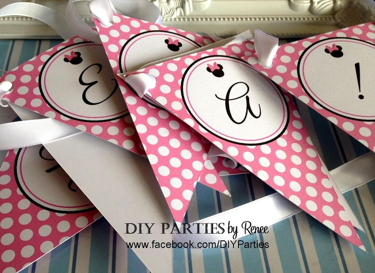 Table bunting - Minnie Mouse.  Find us on Facebook: www.facebook.com/diyparties