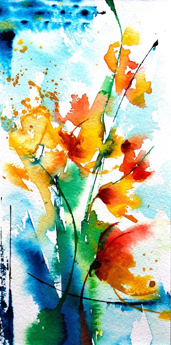 Petit instant N°208 (Boyama), 10x20 cm Véronique Piaser-Moyen tarafından Aquarelle originale sur papier 300 G