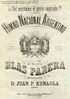 Partitura del Himno Nacional Argentino, copia del original publicado previamente en La Lira Argentina, en 1824.