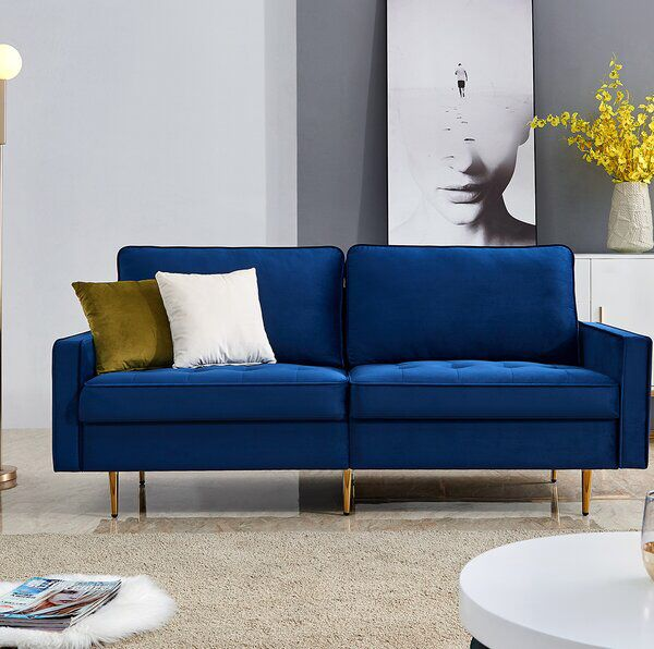 Haglund Velvet 71 Square Arm Loveseat Modern Fabric Sofa Sofas For Small Spaces Upholstered Couch
