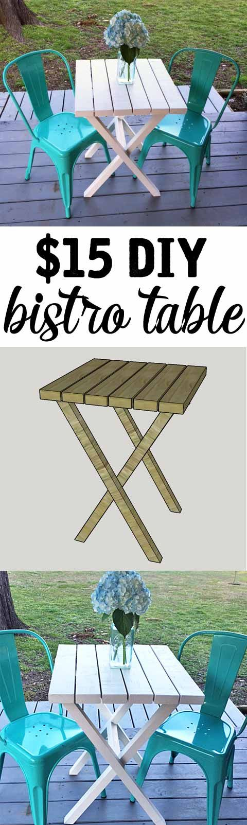 $15 DIY Bistro Table - made from 2x4s. Such an easy project for a beginner - only takes about an hour!