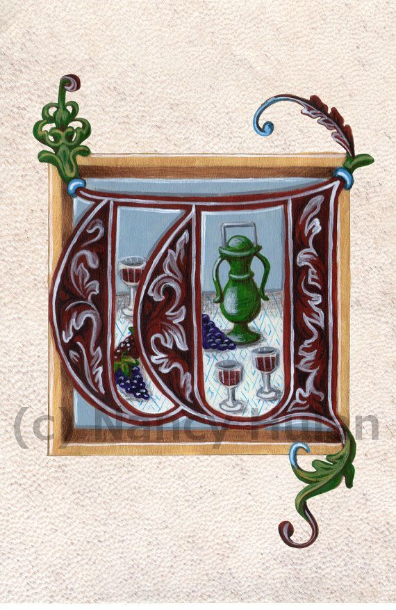 Medieval Illuminated Letter W This is an archival 4 x 6 print of my original artwork, painted in acrylics on goatskin parchment. It shows a