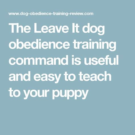 The Leave It dog obedience training command is useful and easy to teach to your puppy
