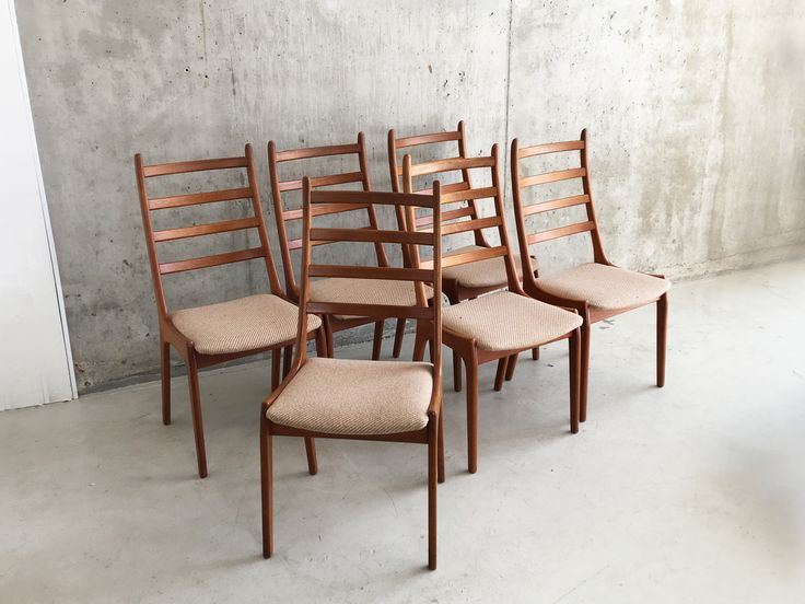 Set of Six Mid Century Beech Frame Chairs with Original Upholstery