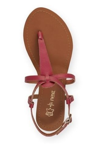 Basic Leather Toe Thongs in Red by Next