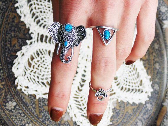 Boho 3 Ring Set / Elephant Ring Triangle by FeathermoonByronBay