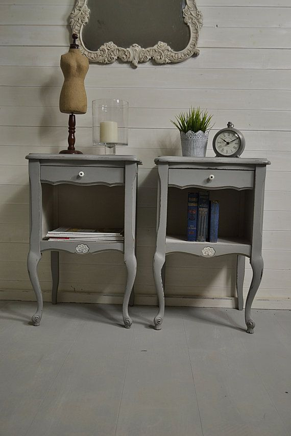 This adorable pair of French bedside tables have a large cupboard space, which is perfect for books & magazines! Weve painted in F&B Manor