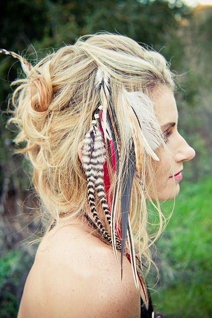   ROAR VIBE LONDON   Wild and colourful pink hair feathers. Pin Via - http://www.stylishwife.com/2015/07/adorable-hippie-hairstyles.html