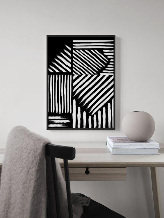 Black & white strokes Poster in the group Prints / Sizes / 50x70cm | 20x28 at Desenio AB (10153)