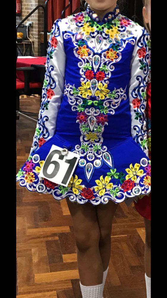 Dazzling Blue Rising Star Designs Irish Dance Dress Solo Costume For Sale