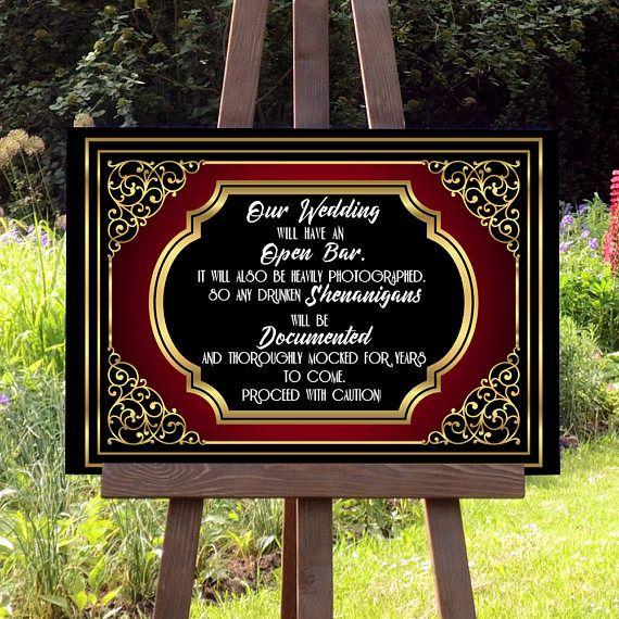 Offene Bar Hochzeit Schild Digitaldruck Art Deco 20er