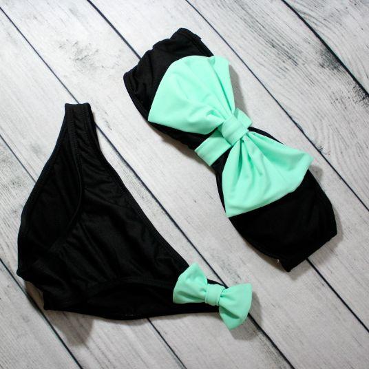 cuteeeeee beyond words! swimsuit bikini summer spring outfits 2014 mint bowkini bow beachwear