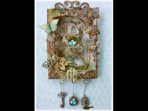 'Love' Mini Canvas Tutorial by Marta Lapkowska - YouTube...used Tim Holtz Wallflower scrapbook paper.