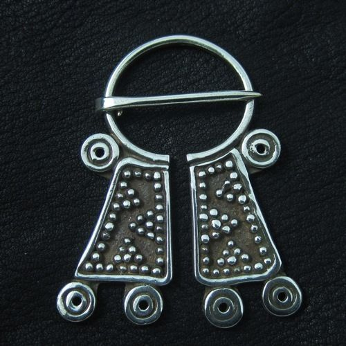 Silver Mordvinian cloak pin. Reenactment. History. Baltic. Fibula. Brooch. SCA.