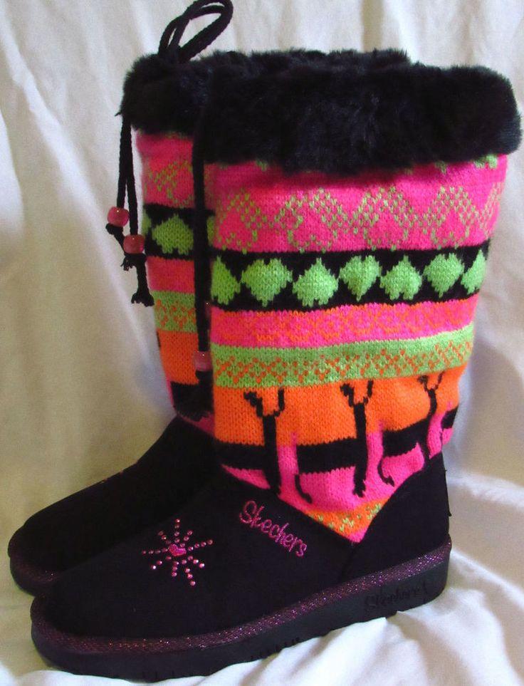 Twinkle Toes Skechers Black Neon colors Sweater knit upper micorfiber Faux fur t #Skechers #Boots