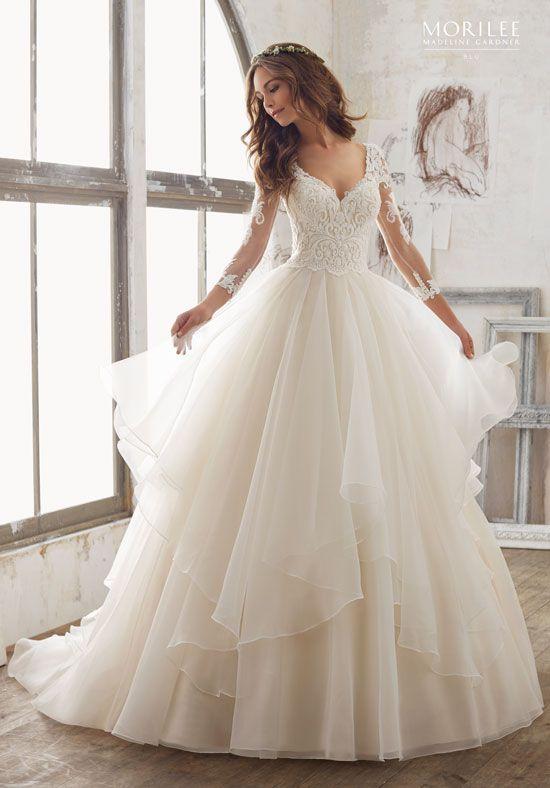 Delicately Beaded, Alençon Lace Appliqués on Layered Organza Skirt