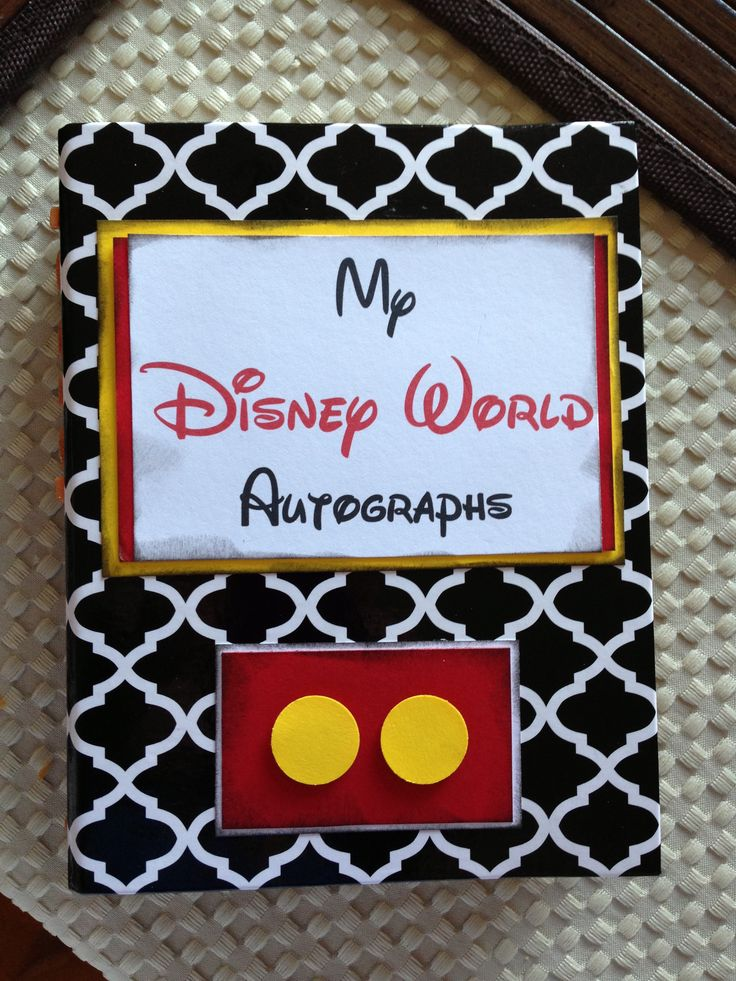Disney DIY Autograph book using cheap photo album from Target, card stock, stamping ink to ink edges and free Waltograph font.