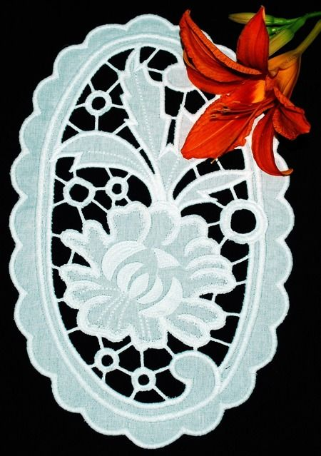 Advanced Embroidery Designs. Peony Cutwork Lace Doily - instructions on how to embroider the design